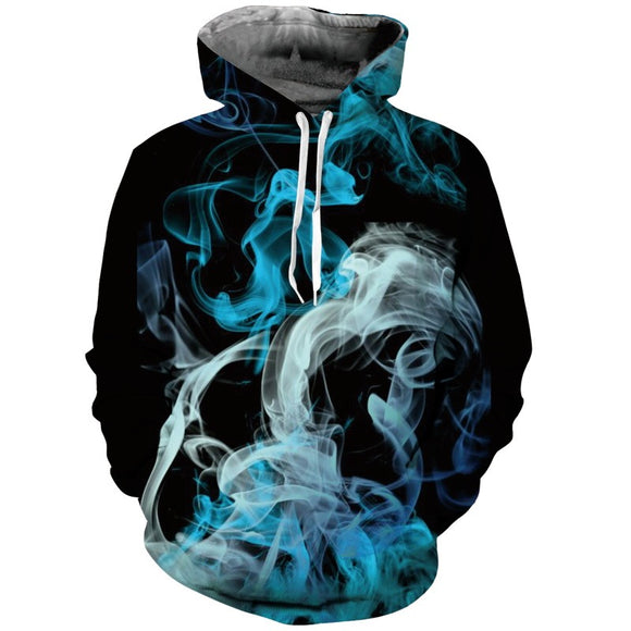 Mens Hoodies 3D Printing Smoke Printed Winter Hoodies Tracksuits