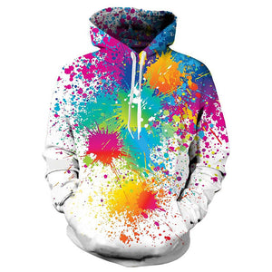 Mens Hoodies 3D Printing Paint Printed Winter Hoodies Tracksuits