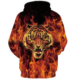 Mens Hoodies 3D Printing Hooded Fire Tiger Printed Pattern