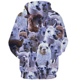 Mens Hoodies 3D Printing Hooded Sheep Printed Pattern Sweatshirt