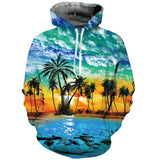 Mens Hoodies 3D Printing Hooded Palm Tree Printed Pattern Sweatshirt
