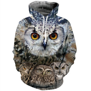 Mens Hoodies 3D Printing Hooded Owl Printed Pattern Sweatshirt