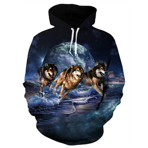 Mens Hoodies 3D Printing Hooded Running Wolf Printed Pattern Sweatshirt