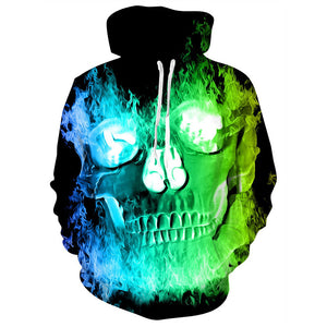 Mens Hoodies 3D Printing Hooded Fire Skull Printed Pattern Sweatshirt