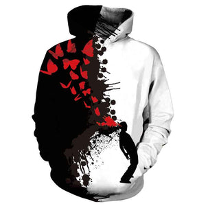 Mens Hoodies 3D Printed Black and White Patchwork Ink Jet Halloween Pattern Printing Hoodies