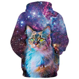 Mens Hoodies 3D Printed Starry Sky Cat Printing Hooded