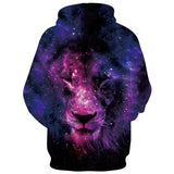 Mens Hoodies 3D Printed Lion Face Printing Hooded