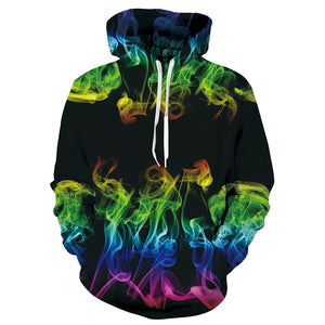 Mens Hoodies 3D Printed Colorful Abstract Smoke Printing Hooded