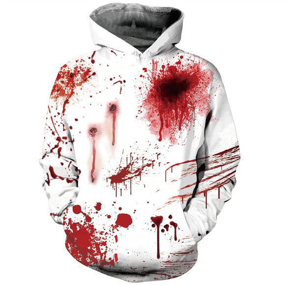 Mens Halloween Hoodies 3D Printing Blood Pattern Hoody