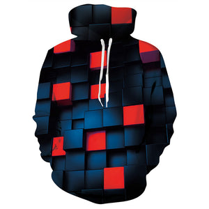 Mens Dark Blue Hoodies 3D Printing Geometric Cube Printed Hoody