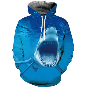 Mens Hoodies 3D Printed Shark Mouth Printing Hooded