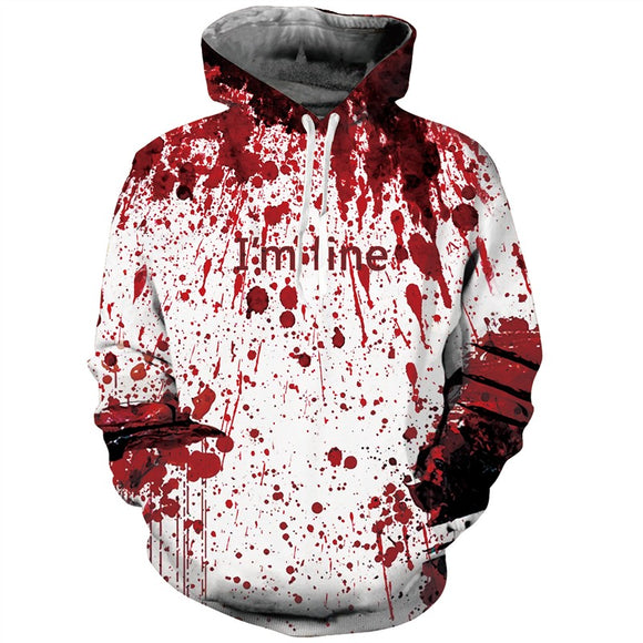 Mens Hoodies 3D Printed Halloween Letter Blood Printing Hooded