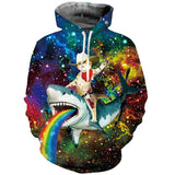 Mens Hoodies 3D Printed Cat Riding Shark Printing Hooded