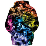 Mens Hoodies 3D Printed Multicolor Abstract Smoke Printing Hooded