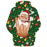 Mens Hoodies 3D Printed Santa Claus Face Printing Hooded