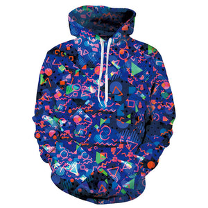 Mens Blue Hoodies 3D Printed Geometric Printing Hooded