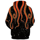 Mens Black Hoodies 3D Printed Octopus Printing Pattern Hooded