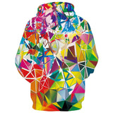 Mens Hoodies 3D Printed Colorful Diamond Hooded