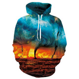 Mens Hoodies 3D Printed Big Fire Printing Pattern Hooded