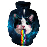Mens Hoodies 3D Printed Rainbow Cat Printing Pattern Hooded