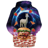 Mens Hoodies 3D Printed Antelope on Pizza Printing Pattern Hooded