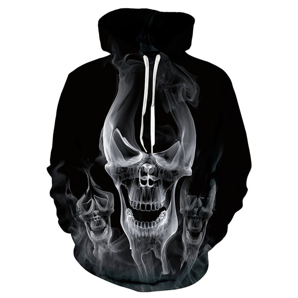 Mens Black Hoodies 3D Printing Skull Smoke Printed Hoody
