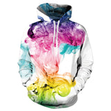 Mens White Hoodies 3D Printing Colorful Smoke Printed Hoody