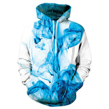 Mens White Hoodies 3D Printing Blue Smoke Printed Hoody