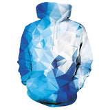 Mens Blue Hoodies 3D Printing Diamond Printed Hoody