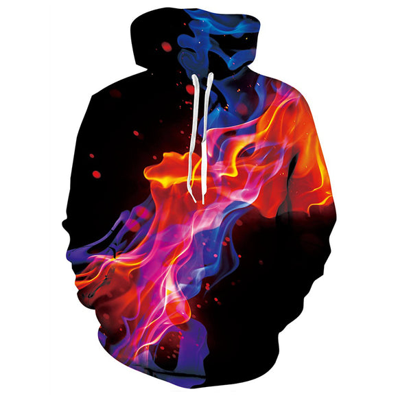 Mens Black Hoodies 3D Printing Red Fire Printed Hoody
