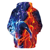 Mens Hoodies 3D Printing Blue Red Fire Printed Hoody