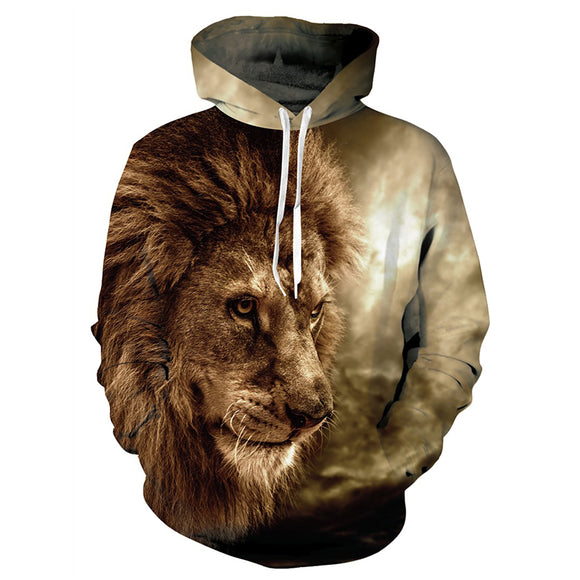 Mens Hoodies 3D Printing Lion Face Printed Hoody
