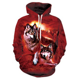Mens Red Hoodies 3D Printing Two Wolves Printed Hoody