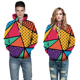 Mens Hoodies 3D Graphic Printed Colorful Geometry Pullover