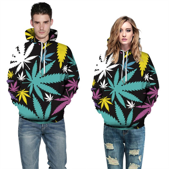 Mens Hoodies 3D Graphic Printed Colorful Maple Leaf Pullover