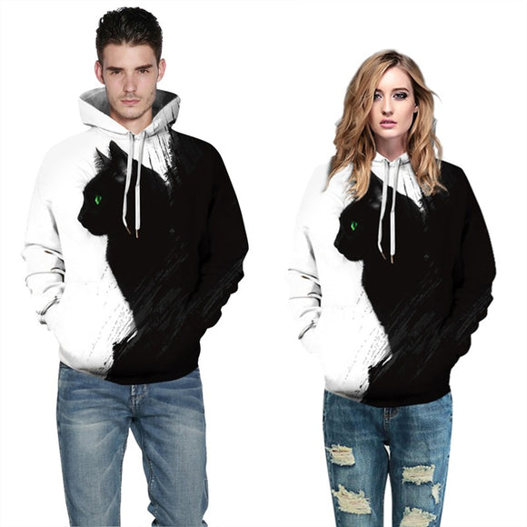 Mens Hoodies 3D Graphic Printed Black Cat Leaf Pullover