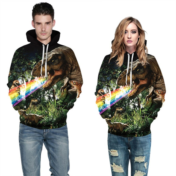 Mens Hoodies 3D Graphic Printed Ugly Dinosaur Pullover