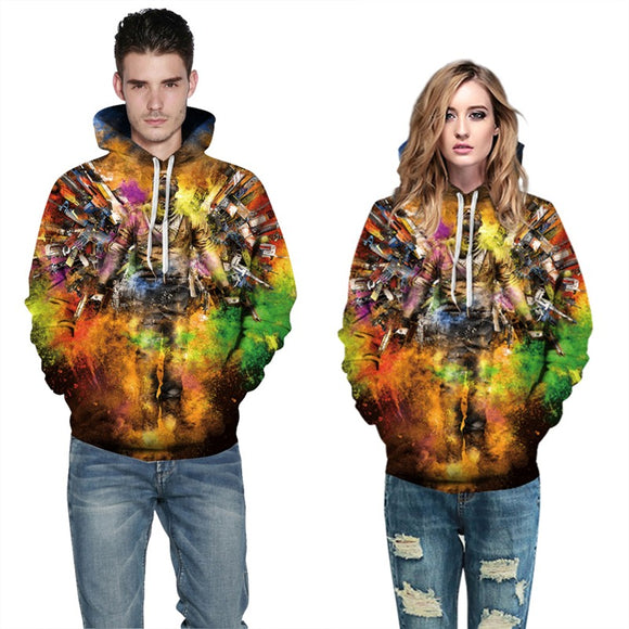 Mens Hoodies 3D Graphic Printed Cool Man Pullover