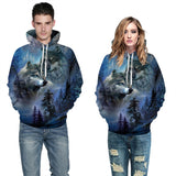 Mens Hoodies 3D Graphic Printed Two Wolves Pullover