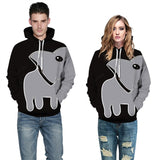 Mens Hoodies 3D Graphic Printed Whale Face Pullover