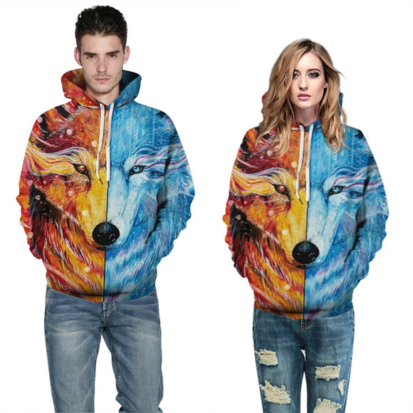 Mens Hoodies 3D Graphic Printed Lion Face Pullover