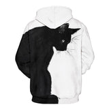 Mens Hoodies 3D Graphic Printed Black Cat Pullover Hoody