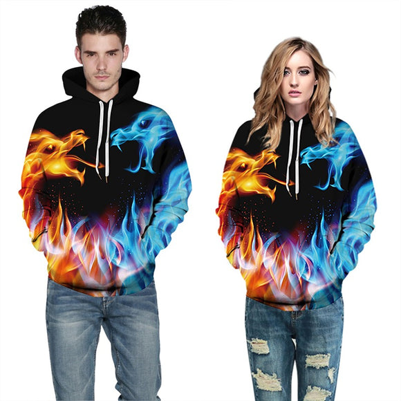 Mens Hoodies 3D Graphic Printed Blue Red Fire Pullover Hoody