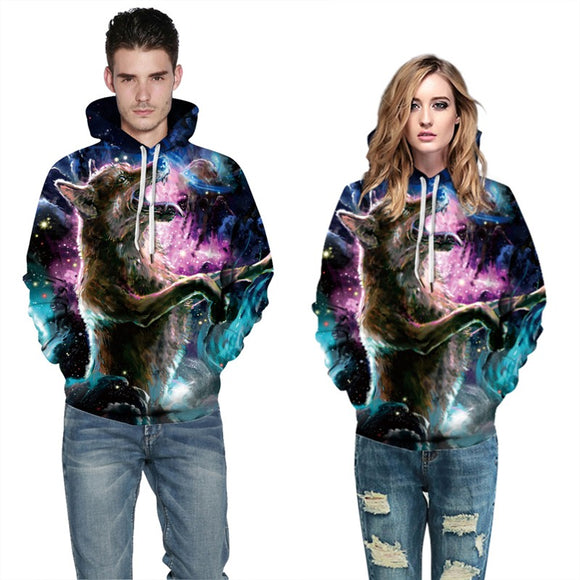 Mens Hoodies 3D Graphic Printed Hungry Wolf Pullover Hoody