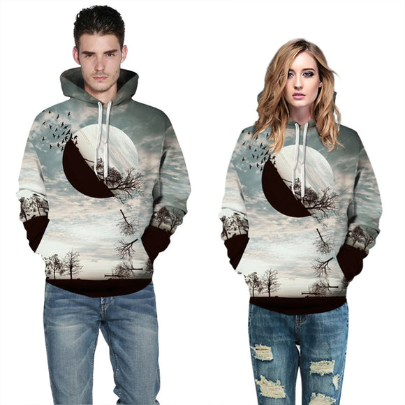 Mens Hoodies 3D Graphic Printed Sunset Pullover Hoody
