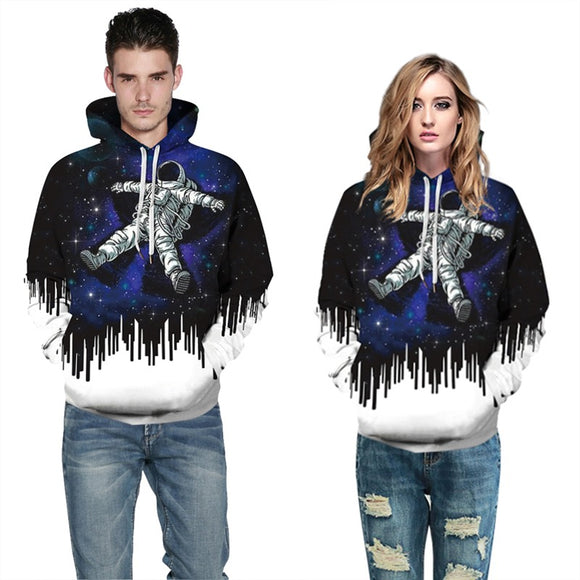 Mens Hoodies 3D Graphic Printed Starry Astronaut Pullover Hoody