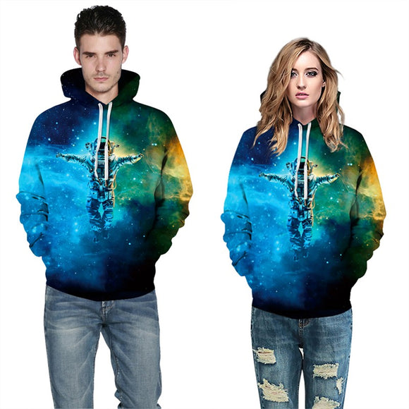 Mens Hoodies 3D Graphic Printed Starry Astronaut Pullover