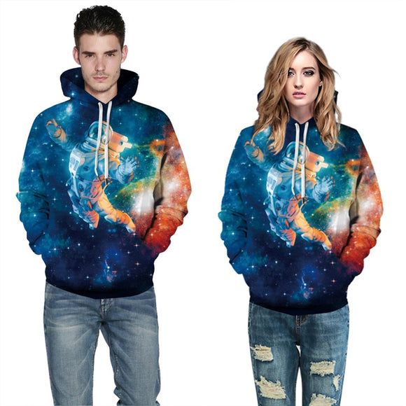 Mens Hoodies 3D Graphic Printed Starry Astronaut Pullover Hoodie