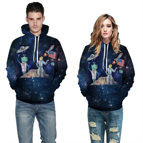 Mens Hoodies 3D Graphic Printed Astronauts with Aliens Pullover Hoodie