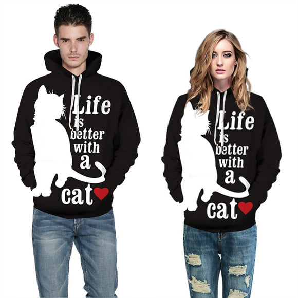 Mens Hoodies 3D Graphic Printed Better Life with Cat Pullover Hoodie